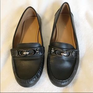 Coach Black Leather Driving Fortunata Loafer Flat